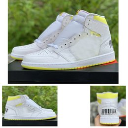 Discount sneakers bar - 2019 New 1 First Class Flight Basketball Shoes Trainers Designer 1s White Yellow Bar Code Women Sneakers Baskets des Cha