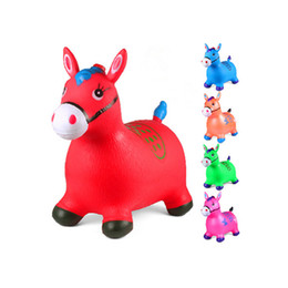 wholesale plastic horses NZ - factory inflatable jumping horse creative children's inflatable horse thickened inflatable music colorful jumping horse Cow deer