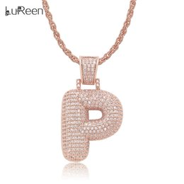 Necklaces Pendants Australia - LuReen 24Inch ROSE GOLD N-Z Bubble Letters Pendant Necklace Hip Hop Iced Out CZ Pendants For Women Men Body Jewelry Gift
