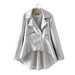 $enCountryForm.capitalKeyWord Australia - Autumn Female Black PU Faux Leather Jacket for Women White Asymmetrical Blazer-collar Fall Khaki Ladies Silver High Low Coats XL
