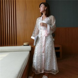 2e38c83be1 Summer New Silk Sexy Sling Nightdress Bathrobes Two-Piece Sets Female  Elegant Embroidery Ice SILK Sleepwear Woman LMR12