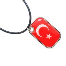 $enCountryForm.capitalKeyWord Australia - Fashion Unisex Turkey national flag Wax rope Pendant Chain Pendant Necklaces for sports football fans gifts