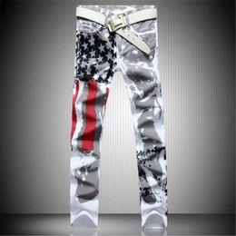 Wholesale american flag printed jeans resale online – designer 2017 New Arrival Men Casual American USA Flag Printed Jeans Pants Mens Graffiti Print white hip hop fashion Jeans