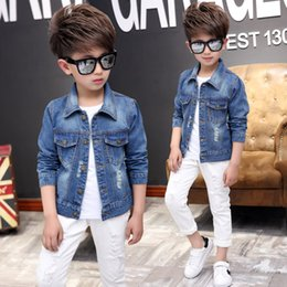 $enCountryForm.capitalKeyWord NZ - Boys Outerwear Coats Casual Spring Fall Denim Jackets for Kids Children Pure Color Cowboy Coat Hole Blue Jeans Clothing