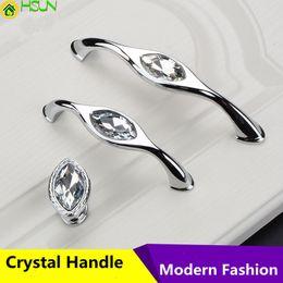 Fashion Drawer Handles Modern Australia - 96mm 128mm Modern Simple Fashion Glass Crystal Kitchen Cabinet Cupboard Door Handle Shiny Silver Drawer Shoe Cabinet Knob Pull
