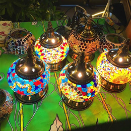 Wholesale ground iron resale online - Turkish Mosaic Lamps for Wedding Deco Bedroom Living room turkish mosaic table lamps handmade lampshade Glass mosaic lamp