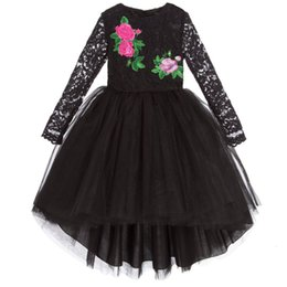 Chinese Evening Clothes Australia - Retail girls dress baby girl lace flower embroidery mermaid black evening dresses kids party skirt tutu children boutique luxury clothing