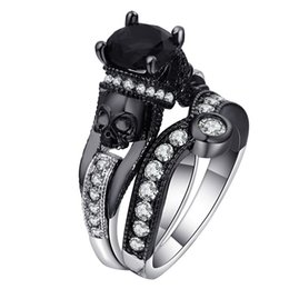 Round Skull NZ - Skull Ring Set For Women Men Punk Style Fashion Jewelry Charm Black Round Cubic Zirconia evil Skeleton Ring Set For Party