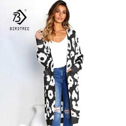 women s wool coats sale NZ - Leopard Print Long Cardigans Winter Clothes Women Open Stitch Autumn Pockets Slim Casual Knitted Sweater Coats Hot Sale T95701Z V191130