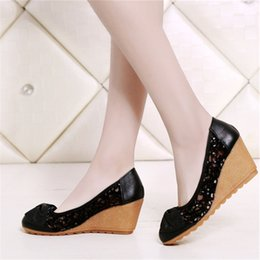 $enCountryForm.capitalKeyWord Australia - Genuine Leather Wedges Shoes for Women Pumps New Cut-outs Bling Bling Shoes Woman High Heel Summer Comfortable Skidproof Nurse Shoe