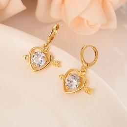 $enCountryForm.capitalKeyWord Australia - Gold-plated arrow pierced heart set with diamond personality simple dubai India ball jewelry earrings wedding engagement gift
