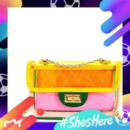 $enCountryForm.capitalKeyWord NZ - Summer fashion PVC Plastic Quilted Chains Transparent Bag Candy Jelly Clear Beach Bags Composite Bag 2pcs set Handbag Women 2019 Best sellin
