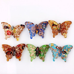 christmas glass gifts Australia - Wholesale 6pcs handmade Murano Lampwork Glass Mix Color Gold Sand Butterfly Pendant Fit Necklace Hot Christmas gift p0074
