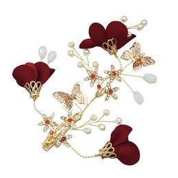 Опт Ювелирные склад США Свадьба Красный цветок золото бабочка Hairbands Свадебные Tiara Pearl ободки Свадебные аксессуары для волос