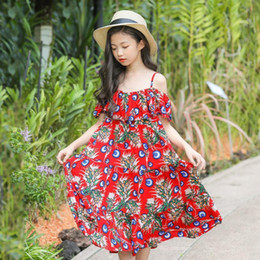 $enCountryForm.capitalKeyWord NZ - Baby Girl Sling Print Flowers Dress For Children's 2019 Summer New Sweet Style Off Shoulder Holiday Dress Brand Clothes Ws147
