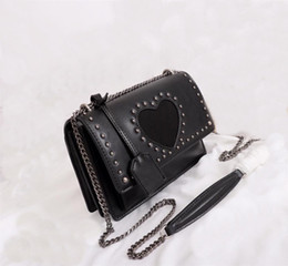 $enCountryForm.capitalKeyWord Australia - Hot sales Newest Style High quality 22cm womens Shoulder bags Fashion casual handbags Rivet Embellishments Leather vintage Silver chain bags