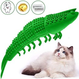 lobster toy wholesale UK - Cat Toys Interactive Kitten Catnip Toys Cat Stuff Toothbrush Teeth Cleaning Chew Toy Lobster Shape 100% Natural Rubber Bite Resistance M990F
