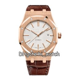 best mens gold watches UK - Best Version Rose Gold Silver Texture Dial Cal.3120 Automatic Sapphire Mens Watch 15400OR Dive Sports Leather Watches Hi_Watch B02F-h7