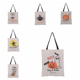 $enCountryForm.capitalKeyWord UK - Halloween Canvas Gift Bag Large Cotton Shopping HandBags Creative Pumpkin Devil Printed Halloween Candy Gift Storage Bag TTA1663