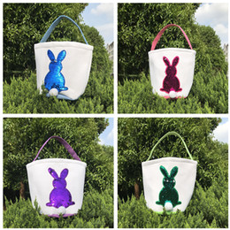 Cute Canvas Handbags Australia - Mermaid Sequins Easter Basket Canvas Rabbit Bags Bunny Storage Bag DIY Cute Easter Gift Handbag Rabbit Ears Put Bags Easter Eggs Baskets Hot