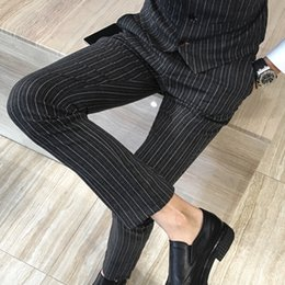 Discount plus size striped dresses - Suit Pants Men For Wedding Formal Men Dress Pants Slim Fit Retro Striped Design Trousers Plus Size 5XL Perfume Masculino