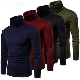 Men Long Sleeve Pullover High Neck Turtleneck Stretch Slim T Shirt Tee on Sale