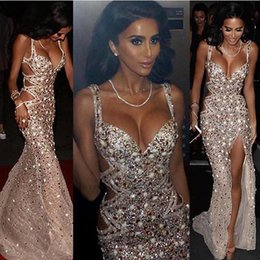 Fantastic evening dresses online shopping - Fantastic Crystals Beads Sequined Evening Dresses Luxury Sexy High Front Split Spaghetti Straps Cutaway Sides Backless Vestidos Prom BC1017
