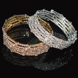 Wholesale Luxury Color Crystal Bracelet Ladies Gold Silver Bracelet Bride Rhinestone Stretch Party Bridesmaid Gift Jewelry