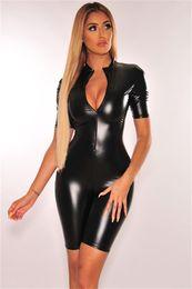 $enCountryForm.capitalKeyWord Australia - Summer PU Womens Designer Jumpsuits Sexy V Neck Black Color Short Bodysuit Skinny Casual Womens Clothing