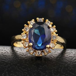 Blue Red Ring Australia - Round Super Big Red Cubic Zironia Stone Ring Rose Gold Color Cocktail Blue Green Crystal Ring Women Jewelry
