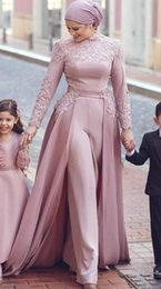 $enCountryForm.capitalKeyWord Australia - High Neck Arabic Muslim Jumpsuit Evening Dresses with Long Sleeves Appliques Kaftan floor legnth Formal Evening Party Dresses