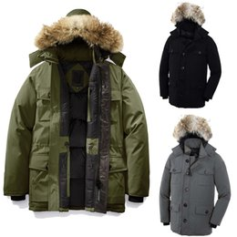 coyote jackets NZ - Men Winter Coat Goose Men's Banff Parka Meets Leather Deatiling Overcoat Goose Down Feather Jacket for Men Banff Parka Coyote Fur Collar