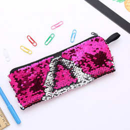 glitter stationery Australia - Reversible Mermaid Sequins Cosmetic Bag Pencil Case Glitter Pencil Bag Cute Pencilcase Back To School Supplies Stationery Beauty