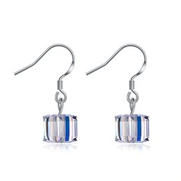 e7820a670 Sterling Silver Earrings Crystal From Swarovski Elements 8M Cube Sugar  Lager Hook Dangle&Chandelier Accessories Earring Prom Gifts POTALA116