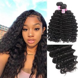 virgin brazilian hair companies UK - 3 bundles hair with TKWIG Company indian deep wave human virgin hair replacement made in China