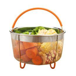 $enCountryForm.capitalKeyWord Australia - 304 Stainless Steel Rice Cooker Instant Pot Steam Basket With Silicone Handle Kitchen Colander Steamer Q190605