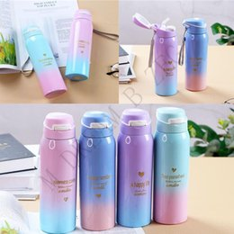Metal coffee online shopping - Portable ml Insulated Water Bottle Gradient Insulated Cup With Straw Stainless Steel Cup Mugs Coffee Mug Straight Cups