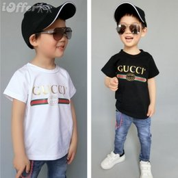 Wholesale 2019 Fashion Kids Girl years t Shirt Children Lapel Short sleeves T shirt Boys Tops Clothing Brands Solid Tees Girls Cotton bocfodr231