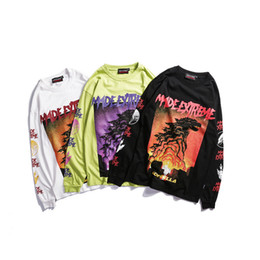 Mens Fashion Seasons Hip Hop Long Sleeve T-Shirts Graffiti Print Male Street Breathable Hot Sell Clothing