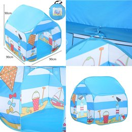 seaside toys UK - Folding Children Kids Play Tent Indoor Outdoor Toy House for Boys Girls Seaside Outdoor Parent-Child Activities Tent Camping T6#