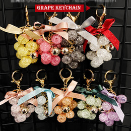 crystal grape wholesale NZ - New Korean Style Crystal Grape Key Chain Crystal Car Keychains Lovers Girls Bags Pendant Key Chain Creative Gift