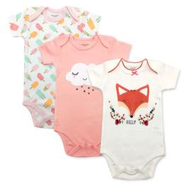 $enCountryForm.capitalKeyWord Australia - 3-pack 100% Cotton Fashion Print Newborn Clothing Short Sleeve Baby Bodysuits Summer Baby Underwear Funny Cute Clothes Set Y19061303