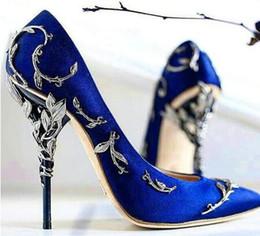 $enCountryForm.capitalKeyWord Australia - Hot Sale- Leaves Pump Fashion Metallic Designer Pointed Toe Luxury Party Wedding Shoes Woman Runway High Heels Pumps Real Pics Size 42