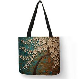 Paintings Ladies Handbags Australia - Customized Cherry Blossom Oil Paint Tote Bag For Women Lady Elegant Handbags Reusable Linen Shopping Bags Double Side Print
