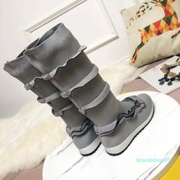inch blue shoes UK - High-quality 2019 spring fall 12 INCH womens Grey BLACK BLUE KNIT Fabric stretch sock shoes MID CALF pull on Fashion Boots