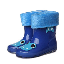 $enCountryForm.capitalKeyWord Australia - Brand Girls Antiskid Wellies With Cotton Velvet New Fashion Design Kid Cartoon Rainboots Boys Autumn Winter Warm Rain Boots