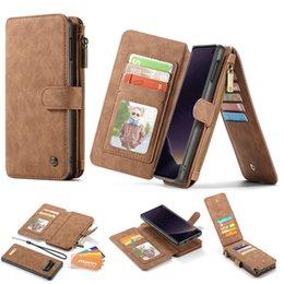 Venta al por mayor de CaseMe para Samsung Galaxy S10 S10 Lite Funda con tapa de cuero genuino para Samsung S10e S9 S9 Plus S8 S8Plus Bolso para el teléfono con billetera
