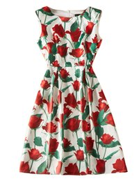 Rose Print Women A-Line Dress senza maniche Casual Dreses 06K1925