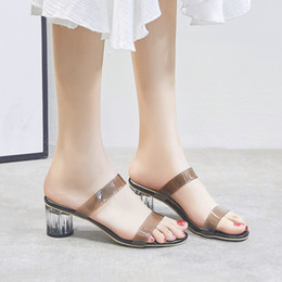 $enCountryForm.capitalKeyWord Australia - Women Fashion Shoes in European and American Korean Transparent Style with Thick Heels High Heels for women Ladies Girls Fashion Slippers