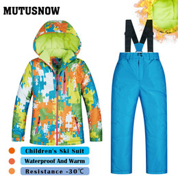 Children Winter Ski Suit Australia - MUTUSNOW Girls And Boys Ski Suit New Children's Brands High Quality Windproof Waterproof Snow Super Warm Child Winter Thick Snowboard Suit